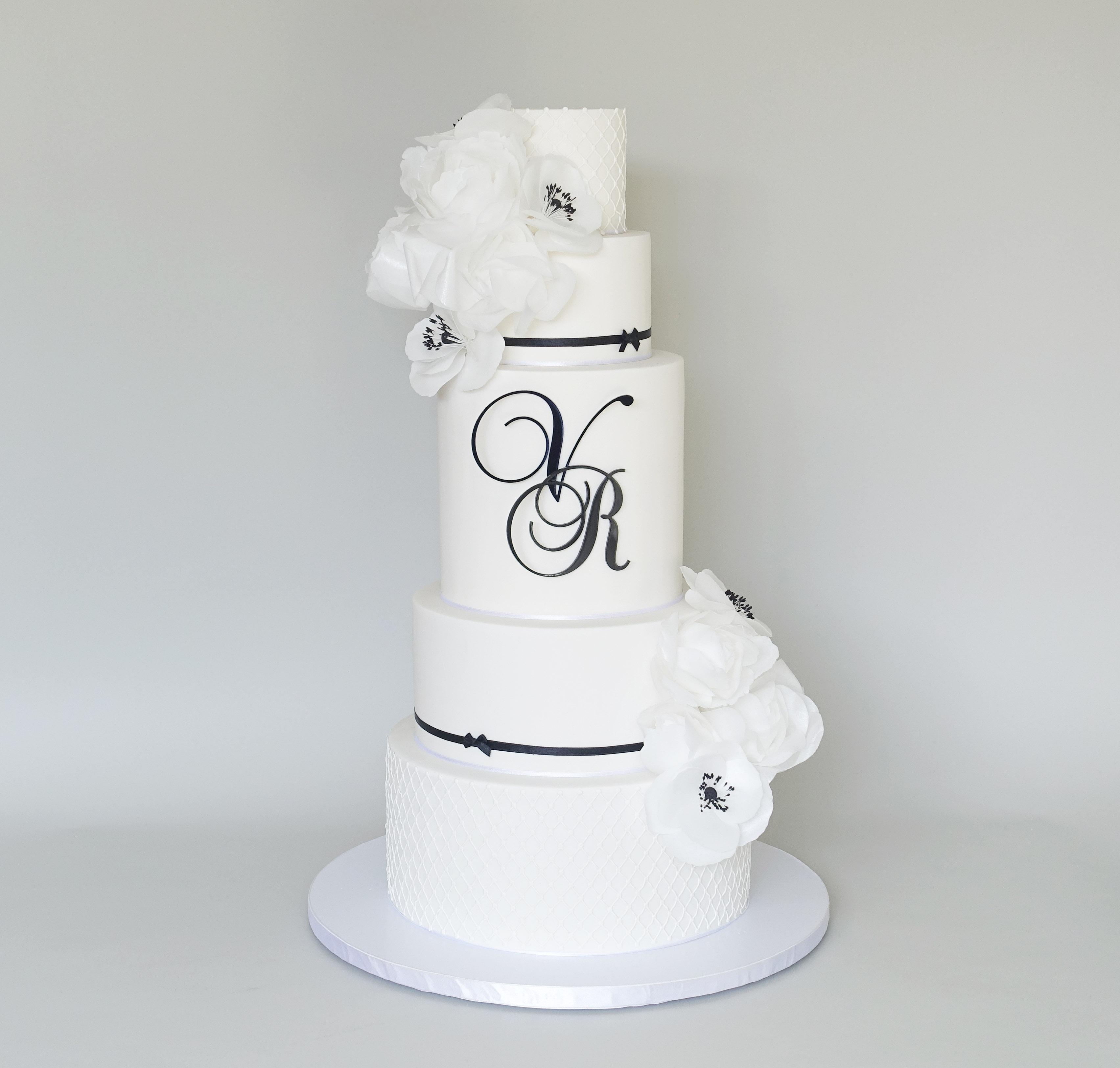 black and white wedding cake Melbourne cake design